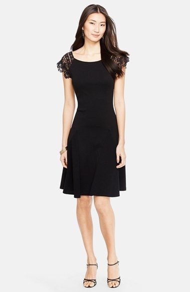 Lauren Ralph Lauren Lace Sleeve Cotton Dress | Nordstrom