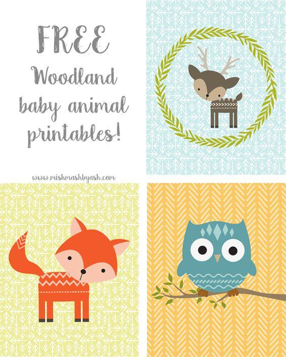 FREE printable woodland animals   for kids and nursery