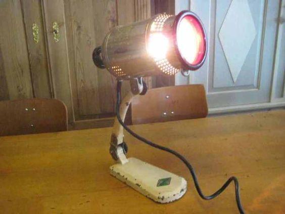 Vintage Tischlampen - Rotlichtlampe - ein Designerstück von IndustrieStyle bei DaWanda