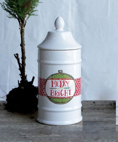 Loving this 'Merry & Bright' Ceramic Jar & Lid on #zulily! #zulilyfinds