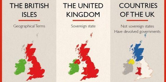 """Mapa de las islas británicas, Reino Unido y los paises que conforman Reino Unido. Imagen de canalviajes.com Descubre #Gales en nuestro artículo """"Gales, mas que un título nobiliario"""" ."""