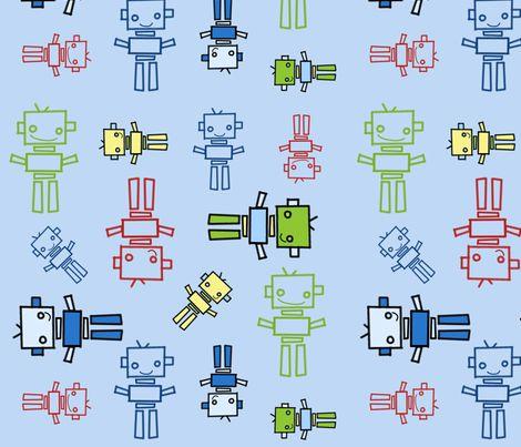 fabric_robots_blue_background fabric by emrick123 on Spoonflower - custom fabric