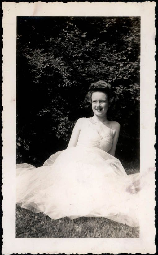 vintage photo Young Lady High Hair Ballroom Dress lies in Grass Snapshot Photo