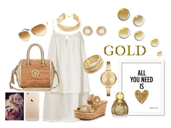 """Gold"" by mhightower1011 on Polyvore featuring Heidi Klein, Jack Rogers, Nanette Lepore, Oscar de la Renta, Michael Kors, BCBGMAXAZRIA and Tom Ford"