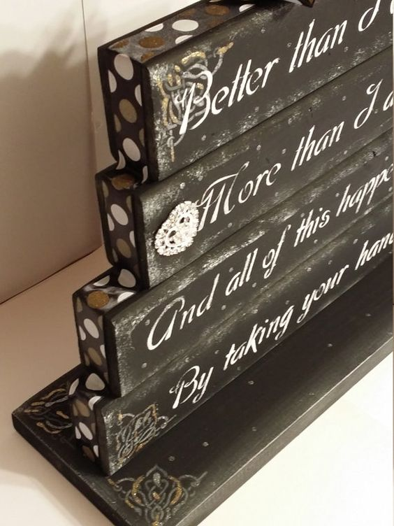 Love quote poem table top display handmade wedding decor by gr8byz