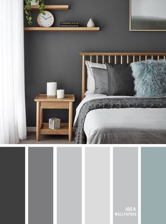 46 Cool Bedroom Tv Wall Design Ideas In 2020 Master Bedroom Color Schemes Grey Bedroom Colors Master Bedroom Colors