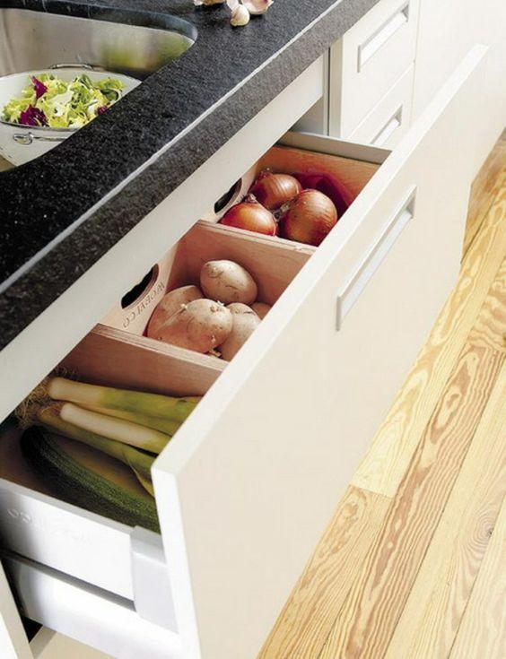 praktische Ideen Organization Küchenschubladen küche kartoffeln