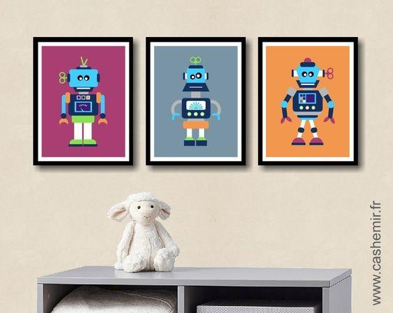 affiche pour enfant garon illustration poster pour chambre denfant cadeau naissance anniversaire robot rf - Affiche Garcon Robot