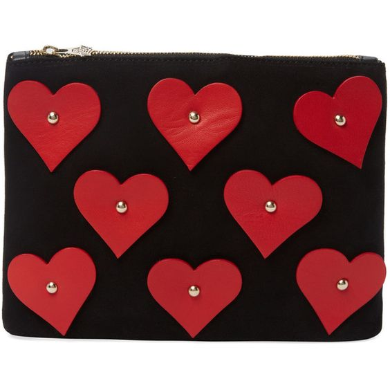 Charlotte Olympia Charlotte Olympia Pocket Full of Love Clutch - Red (¥34,930) ❤ liked on Polyvore featuring bags, handbags, clutches, red, charlotte olympia handbags, charlotte olympia clutches, red heart purse, studded purse and heart handbag