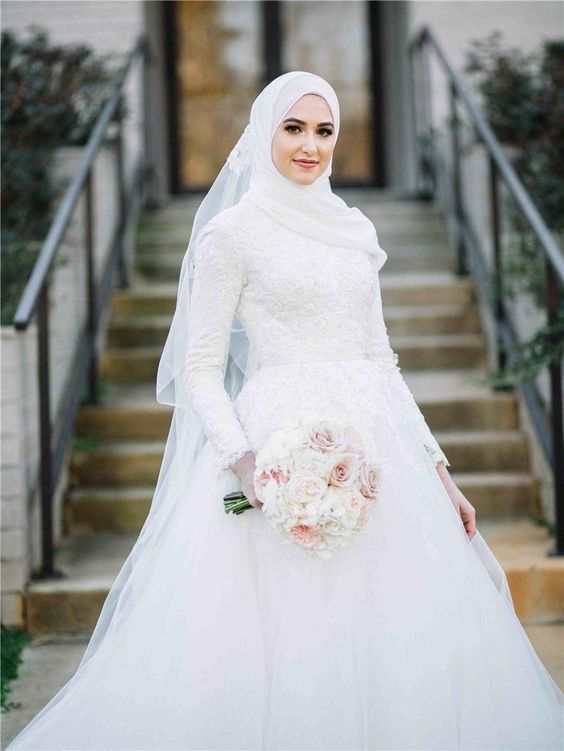 White A Line Muslim Wedding Dress With Long Veil Muslimah Wedding Dress Gothic Wedding Dress Hijab Wedding Dresses