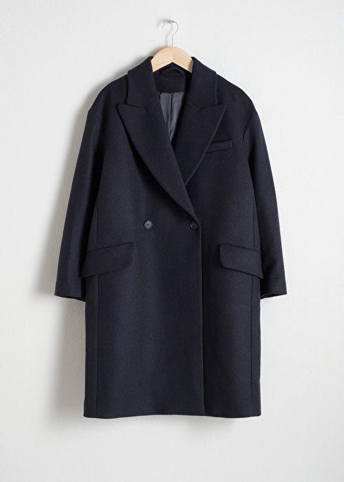 Black Wool Blend Boyfriend Coat