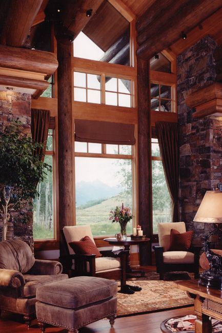 log living room big sky lodge style high ceilings window and cabin 11499