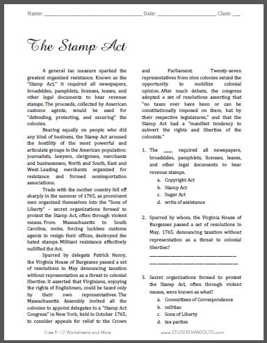 The Stamp Act - Free Printable American History Reading with ...