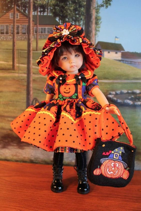 "13"" Effner's Little Darling's ""SPOOKY WENDY"" Halloween Dress Ensemble. #DiannaEffner"