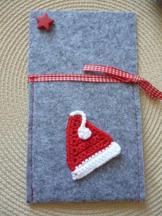Bestecktasche Nikolausmütze Weihnachten Filz genäht Handarbeit Motiv gehäkelt