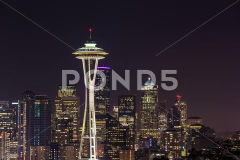 Photograph Space Needle At Night Seattle Washington Usa