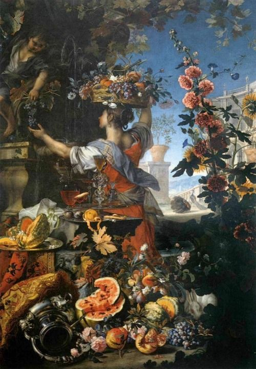 Christian Berentz,  Flowers, Fruit with a Woman Picking Grapes 1689