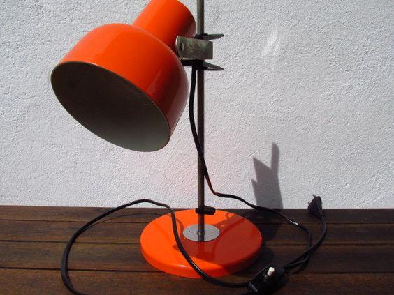 Vintage Lampe, Schreibtisch Lampe, Büro Lampe, Space Age, Mid Century, 70er 80er, orange von ShabbRockRepublic auf Etsy