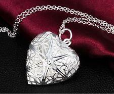 Vintage Elegant Silver Love Heart Valentine Lover Locket Chain Necklace Pendant