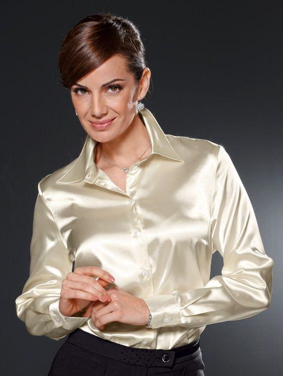 Satijnen silk satin blouse leather leren rok skirt - 3 4
