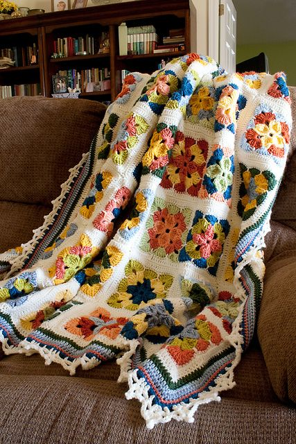 Summer in Sweden Afghan with link to free pattern.: