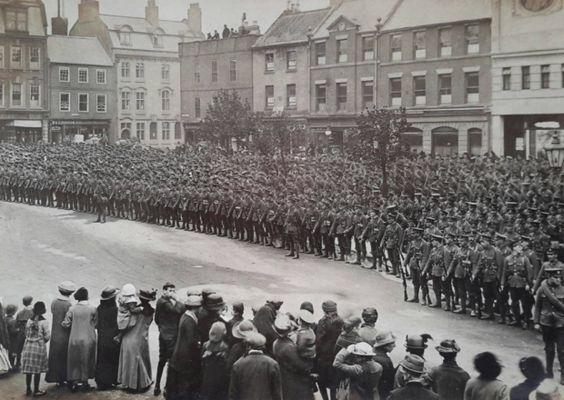 Morpeth Town Centre, taken during 1914.