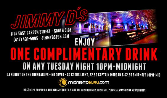 Free Drink on Tuesdays at Jimmy D's in South Side
