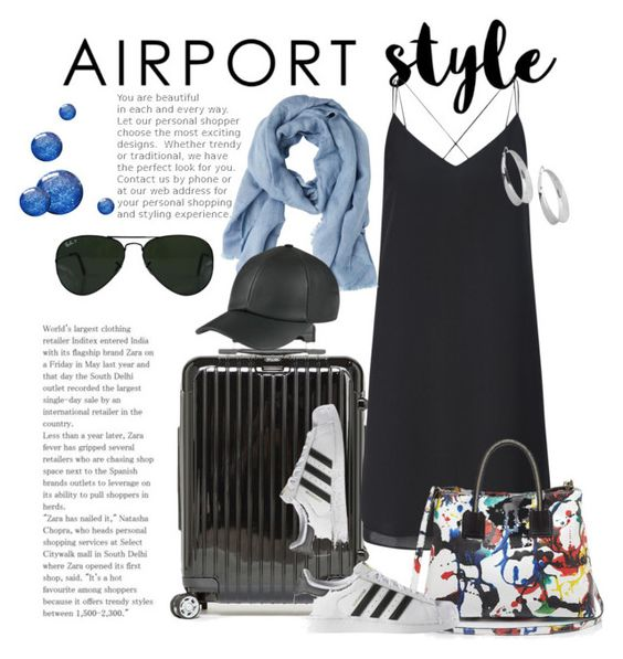 """""""Airport style 2"""" by shaunnhicks on Polyvore featuring Salsa, Miss Selfridge, MANGO, Milly, adidas, Ray-Ban, Robert Lee Morris, GetTheLook and airportstyle"""