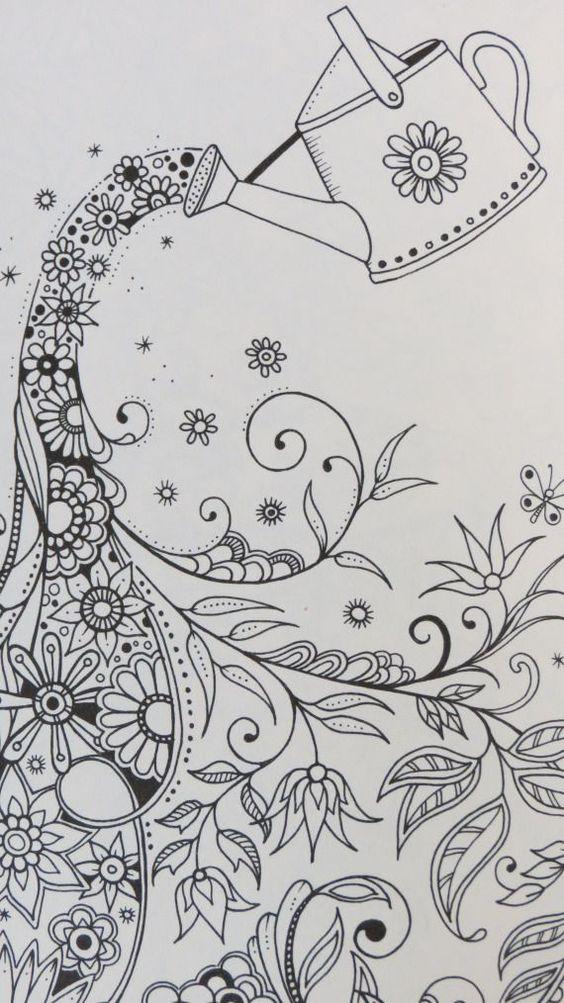 Livro jardim secreto desenhos para colorir e imprimir do livro pintar desenhos desenho pra - Figuras decorativas grandes ...