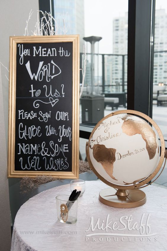 I like the way they painted the globe and the sentiment behind the wording on the sign. #wedding #guestbook