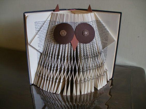 owl folded book projets essayer pinterest papier livre et id es. Black Bedroom Furniture Sets. Home Design Ideas