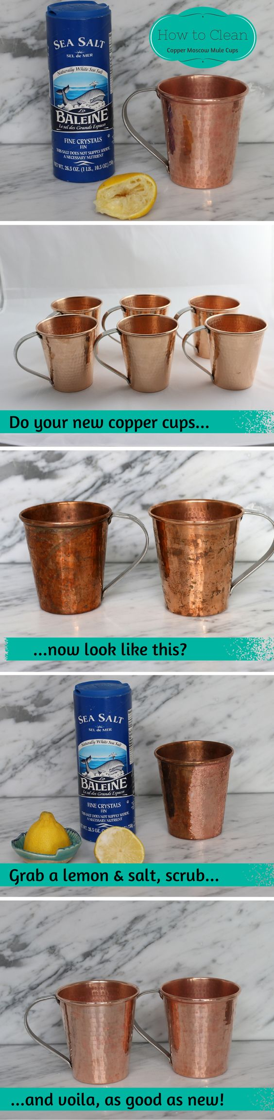 A simple, fast and environmentally safe method for cleaning your Moscow mule mugs....using ingredients you already have in your kitchen!