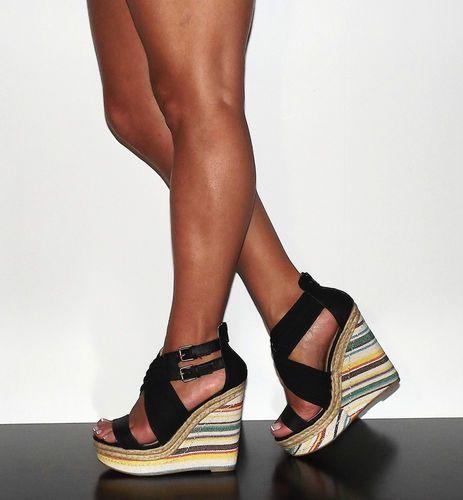 "Details about Womens 5"" Strappy Wedge Heel Platform Black X-Strap ..."