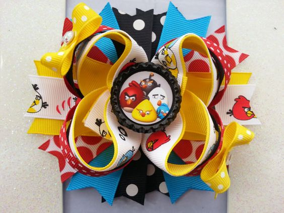 Hey, I found this really awesome Etsy listing at http://www.etsy.com/listing/155779930/angry-birds-hair-bow-angry-birds