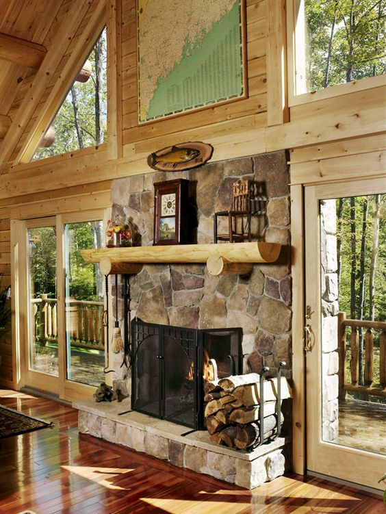 Senator 04329 katahdin cedar log homes stacked stone for Log cabin fireplace designs