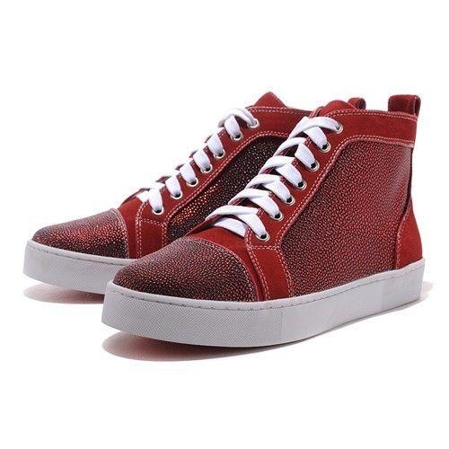 4bef9c33a09e Chaussure Louboutin Pas Cher Homme Basket Rouge Daim0 commerce en ligne  jusqu à 70%
