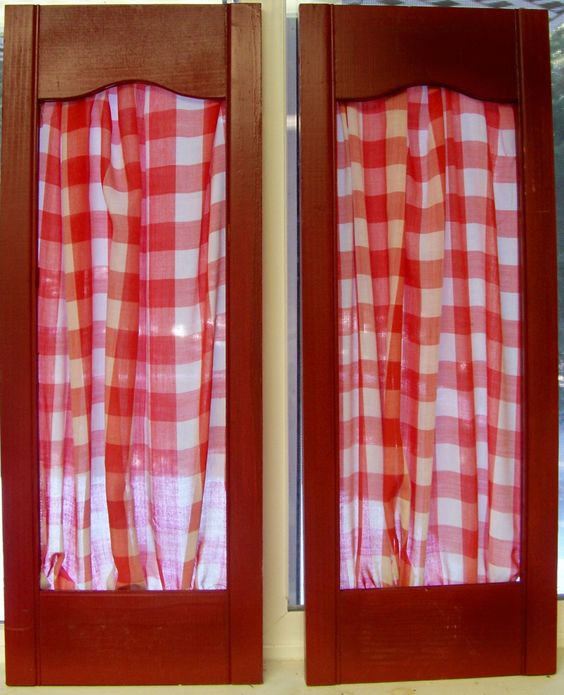 Fabric Wall Kitchen : Vintage red shutter panels with gingham fabric