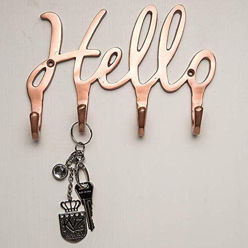 Hello Copper Key Holder For Wall 4 Metal Key Hooks Wall Mounted Key Hanger Key Organizer Key Chain Hooks Wall Key Holder Key Holder Key Hooks For Wall