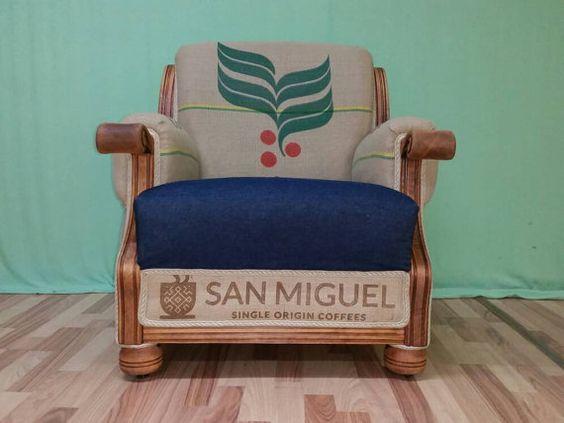 Vintage Deko Kaffeesack Sessel ausSostenible von CAFFAHHAUS auf Etsy
