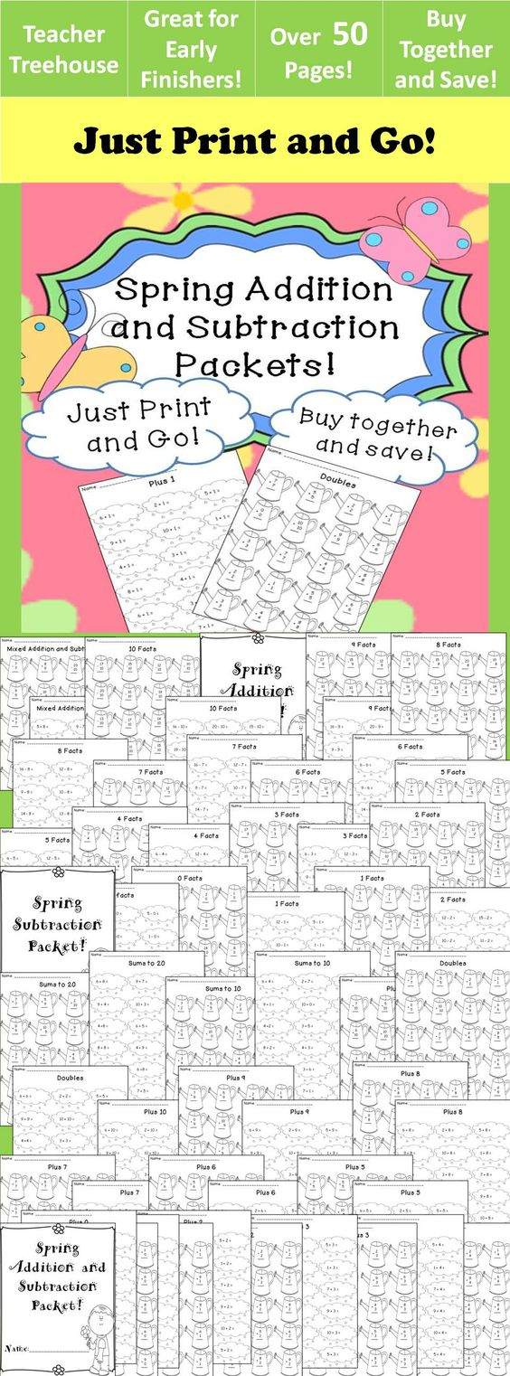 math worksheet : spring addition and subtraction worksheet packets just print and  : Primary Addition Worksheets