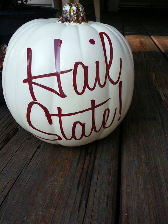 HAIL STATE MSU pumpkin vinyl decal https://www.etsy.com/listing/204953455/mississippi-state-hail-state-vinyl