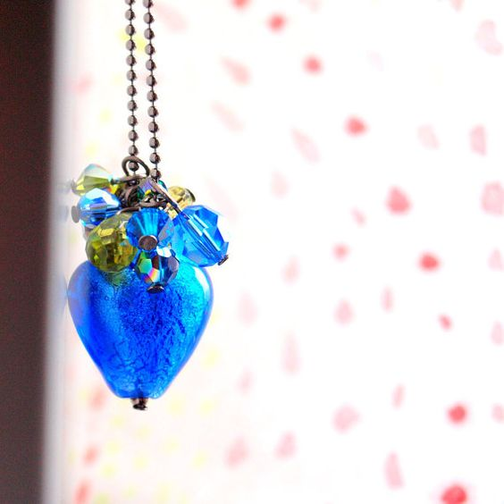 Cobalt blue long necklace with gunmetal ballchain