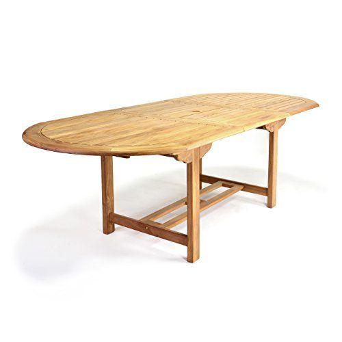 DIVERO GL05520 Ovaler Ausziehbarer Gartentisch Esstisch Balkontisch Holz Teak  Tisch Für Terrasse Balkon Wintergarten Witterungsbeständig Behandelt U2026