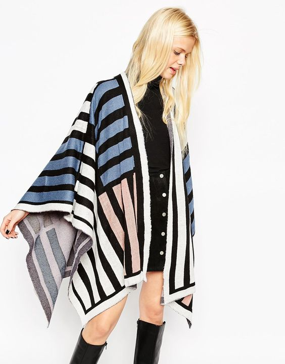 ASOS Colour Blocked Wrap Cape