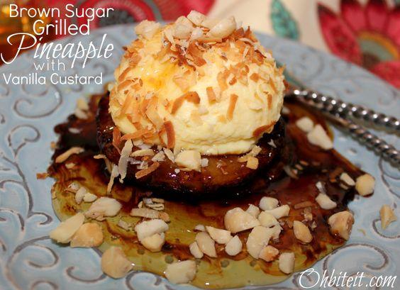 ~Brown Sugar Grilled Pineapple ..with Vanilla Chobani Custard!   And a Chobani GIVEAWAY!  :)