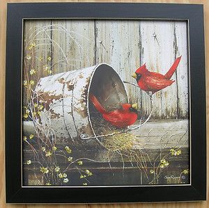 Bird Pictures Cardinals Framed Country Pictures Primitive