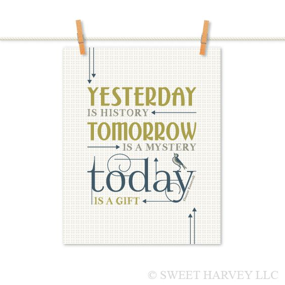 Today is A Gift: Full Inspirational Quote - Typography Poster, Plaid, Arrows, Bird - Navy Blue, Leaf Green - Choose Your Color 8 x 10. $18.00, via Etsy.
