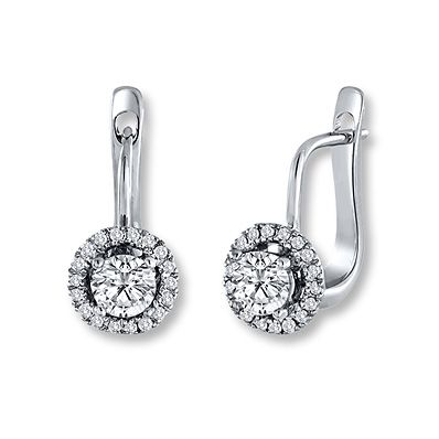 Diamond Earrings  1 1/5 ct tw Round-cut 14K White Gold