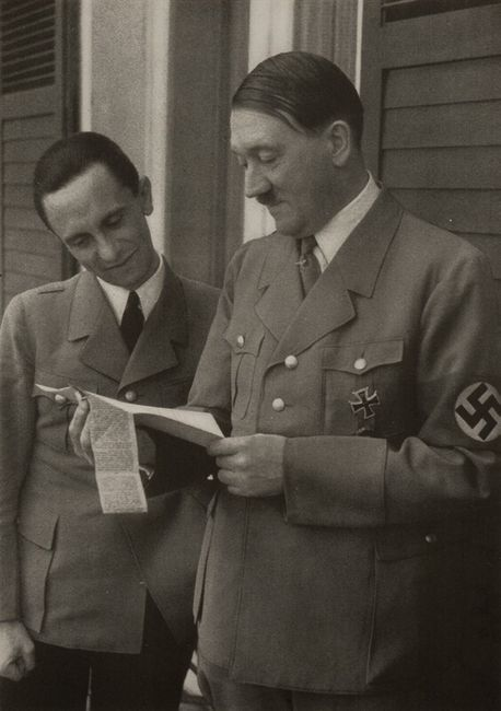Joseph Goebbels  and Adolf Hitler. Unpublished photograph.: