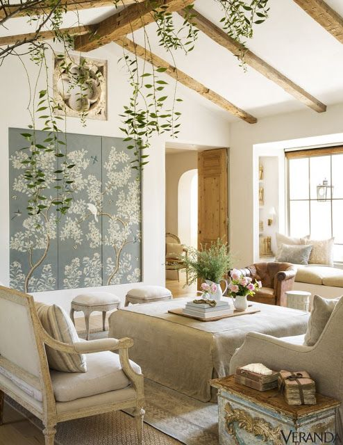 Interior design inspiration: Modern farmhouse living room at #PatinaFarm with #FrenchFarmhouse and #Swedish influences